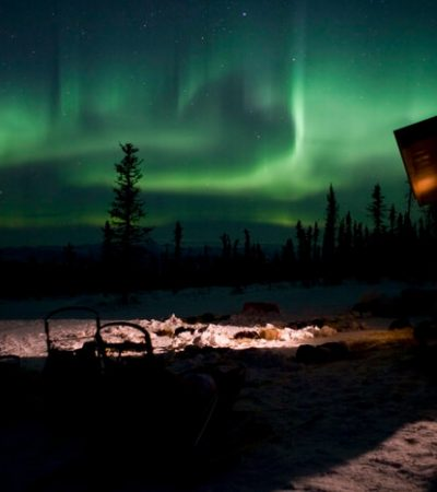 dogsleds and sleeping dogs under aurora